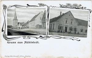 Mühlstedt, Hauptstraße mit Kirche, Gasthof zu Mühlstedt, um 1910